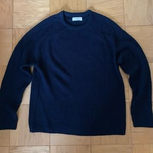 Warm Navy Crewneck Sweater Large